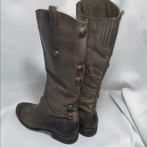 Arturo Chiang Gray Leather Knee High Boots Sz 10
